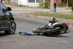 motorcycle accident damaged bike on the floor