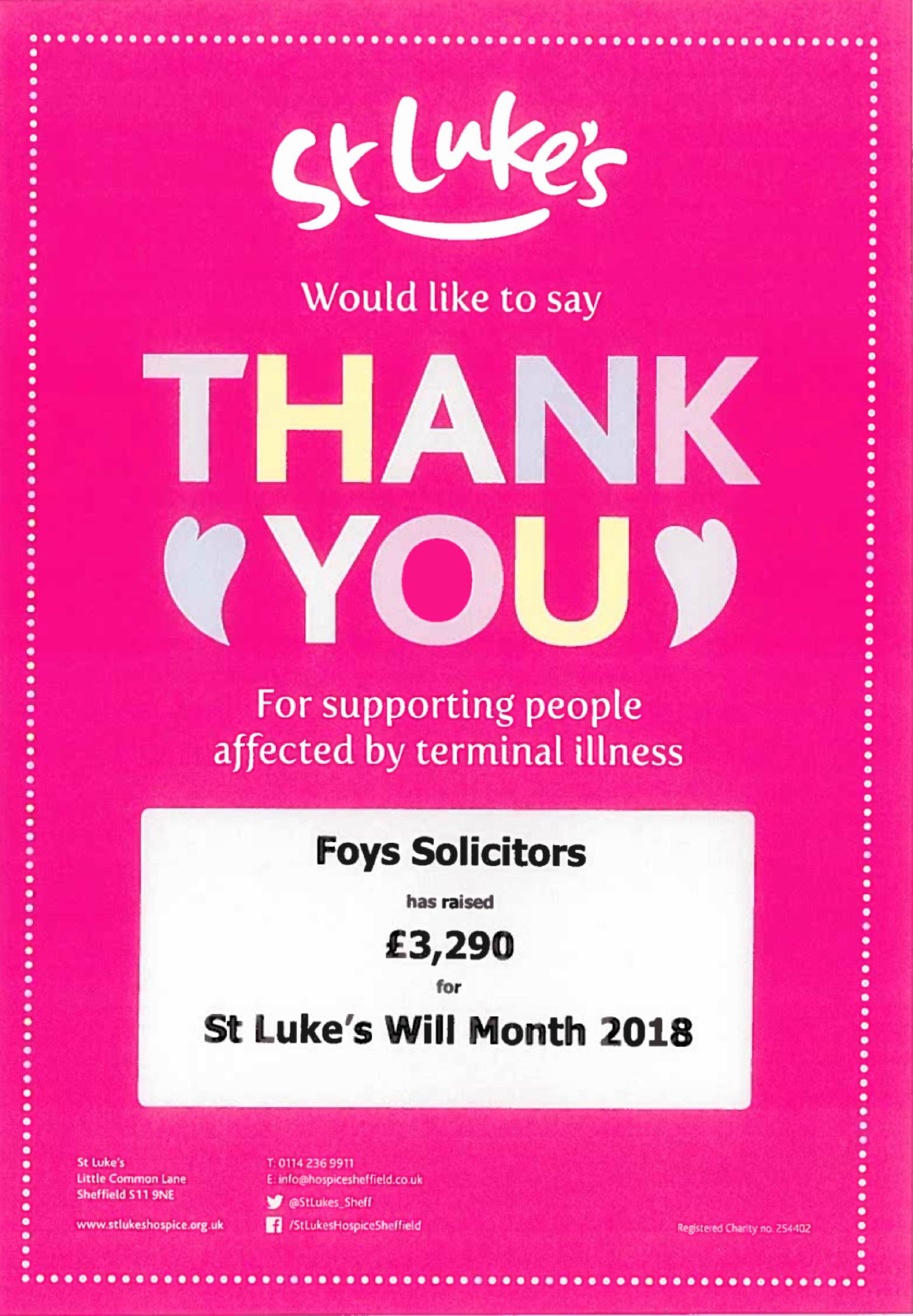 A thank you post from St Luke's Hospice