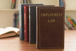 Employment law book on desk of lawyer in law firm. legal education concept